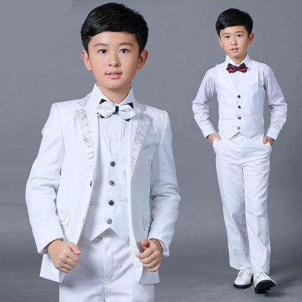 NEW 5PCS/Set Slim Fit Boys' White Wedding Suits - little-darling-fashion-online