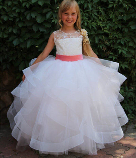 White Tulle Floor-Length Ball Gown for Flower Girls by PickAProduct
