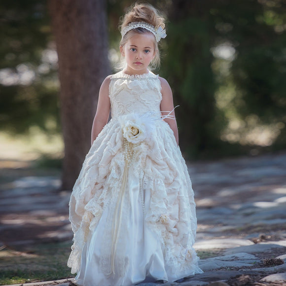 Ivory Sleeveless Beaded Ruffles Flower Girl Dress - little-darling-fashion-online