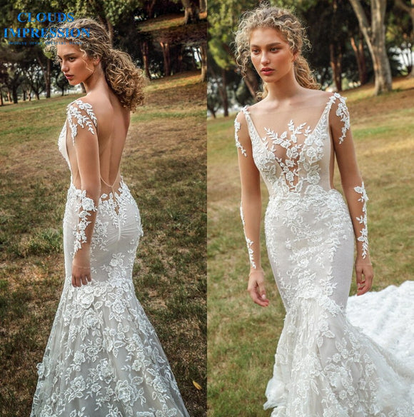 Backless Scoop Neck  Mermaid Wedding Dresses 2019 - little-darling-fashion-online