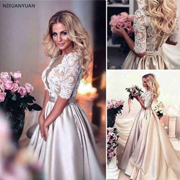 Satin Half Sleeves Champagne V-Neck Wedding Dresses - little-darling-fashion-online