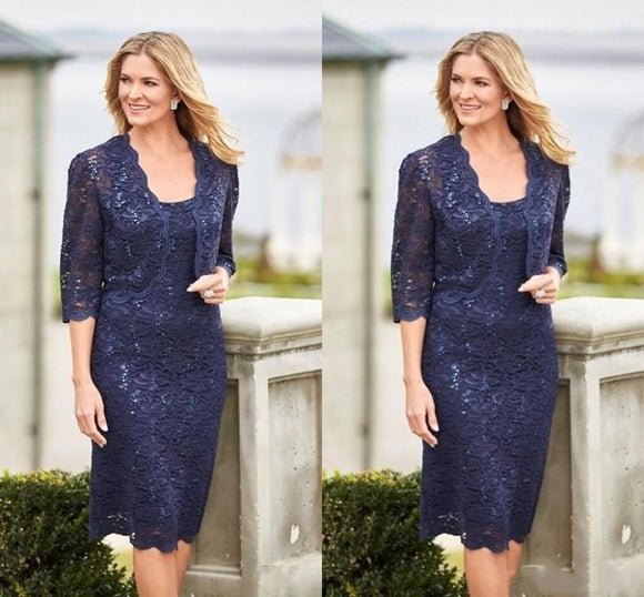 Vintage Navy Blue Lace Mother of the Bride Dresses - little-darling-fashion-online