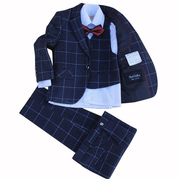 Kids Formal Suit 4 Piece Jacket+Vest+Pants+Bow Tie - little-darling-fashion-online