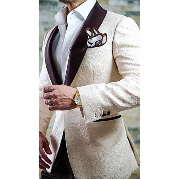 Champagne Jacquard Men's Wedding/Prom 2 Piece Suits by PickAProduct