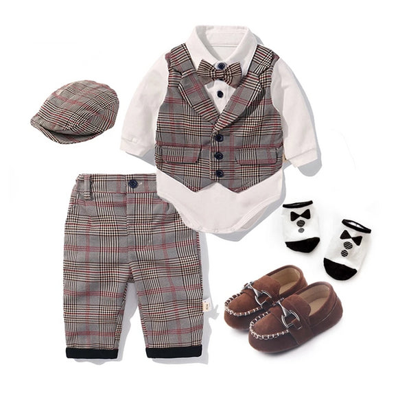 Baby Boys Cotton Plaid 5 Piece Clothing Set - little-darling-fashion-online