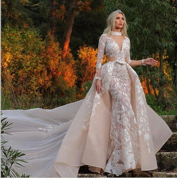 Muslim High-Quality Deep V Neck Wedding Dress 2019 - little-darling-fashion-online
