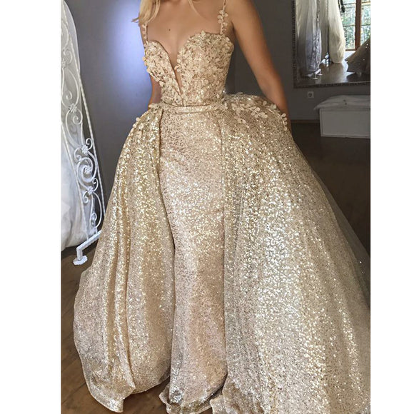 Shiny Gold Mermaid Prom Dress with Detachable Train - little-darling-fashion-online