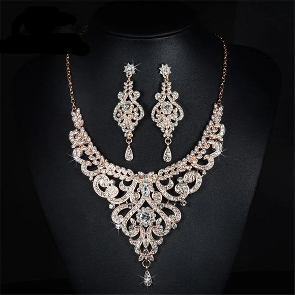 Rose Gold Color Austrian Crystal Bridal Jewelry Sets by PickAProduct