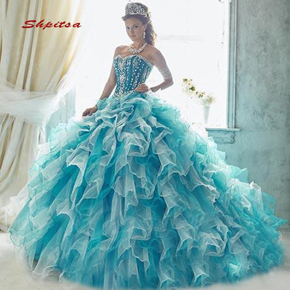 Sweet 16 Puffy Light Blue Quinceanera Dresses