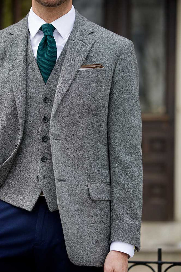 Latest Coat Pant Designs Grey Tweed Business Suit