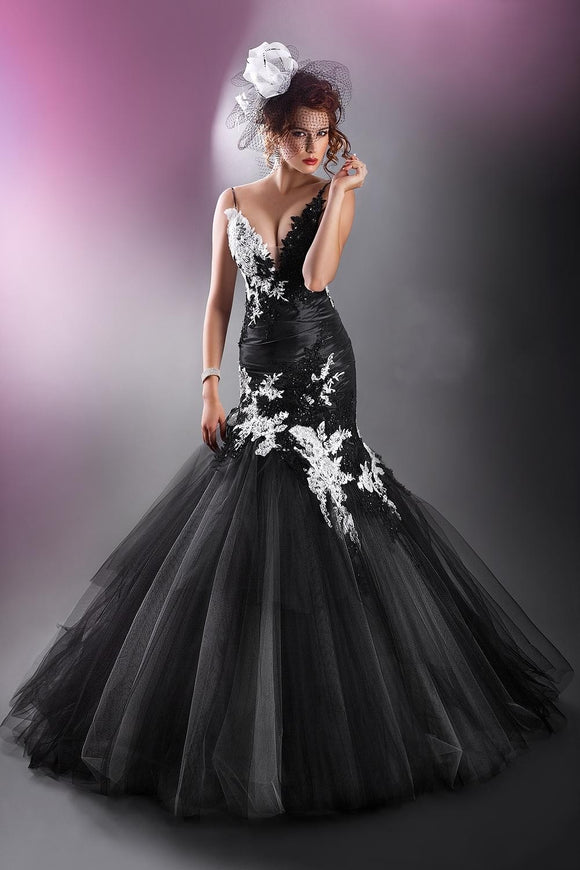 Black with White Lace Mermaid See Through Prom Dress by PickAProduct
