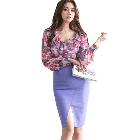 Spring Women's 2 Pieces Chiffon Purple Skirt+Top - little-darling-fashion-online