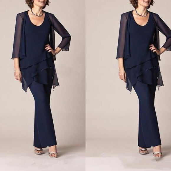 Dark Navy Blue 3 Piece Mother of the Bride Pant Suit - little-darling-fashion-online