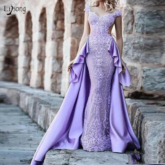 Vintage Lavender Lace Mermaid Evening Dresses - little-darling-fashion-online