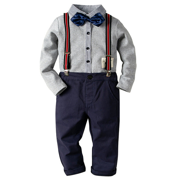 Boys 2 Pce Clothing Set Pants and Long-Sleeved Shirt - little-darling-fashion-online