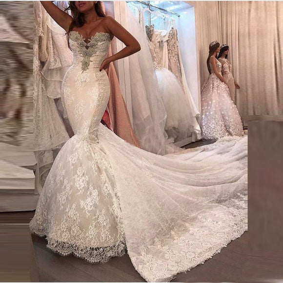 Mermaid Off Shoulder Romantic Long Bridal Dress - little-darling-fashion-online