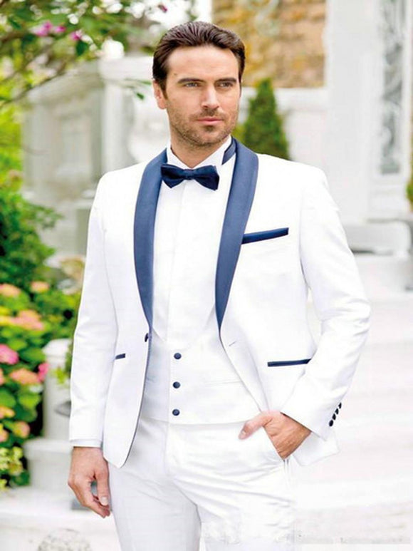 New Design Men's Suits for Wedding Blue Shawl Lapel - little-darling-fashion-online