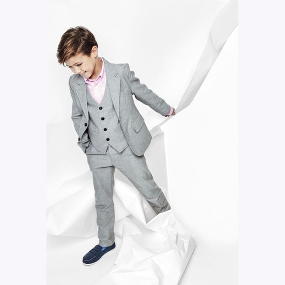 Gray Notch Lapel Two Buttons Fashion Kids 3 Pce Suit - little-darling-fashion-online