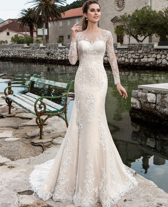 Lace Long Sleeve See Through Mermaid Wedding Dresses - little-darling-fashion-online