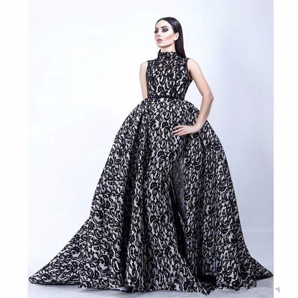 High Collar Black White Evening Gown with Overskirt