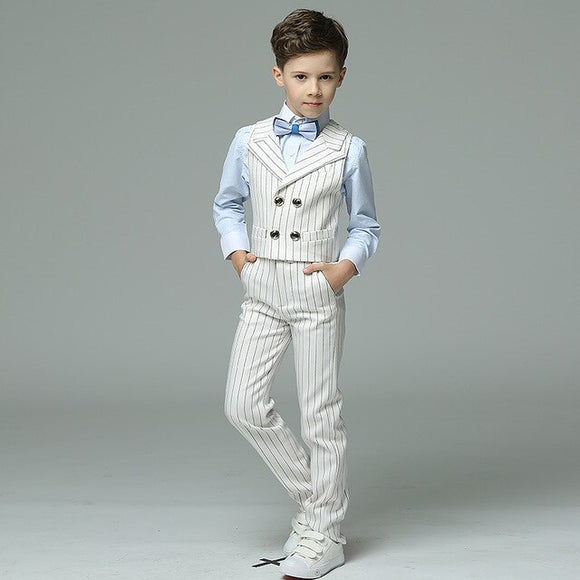 School Boys Formal Striped Vest Suit - little-darling-fashion-online