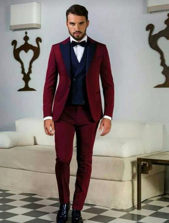 Dark Red Peak Navy Blue Lapel Men Suits - little-darling-fashion-online