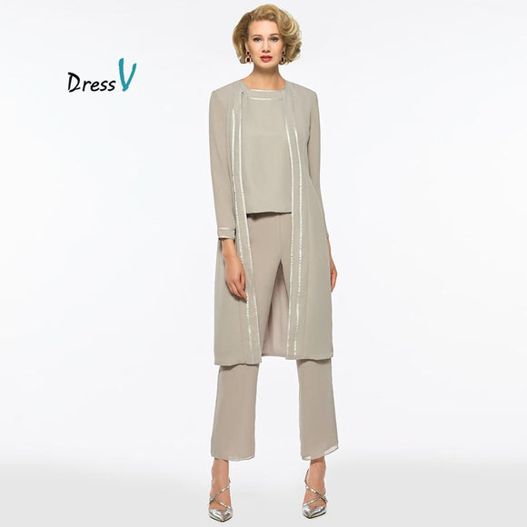 Sliver 3 Pieces Mother of the Bride Pants Suit - little-darling-fashion-online
