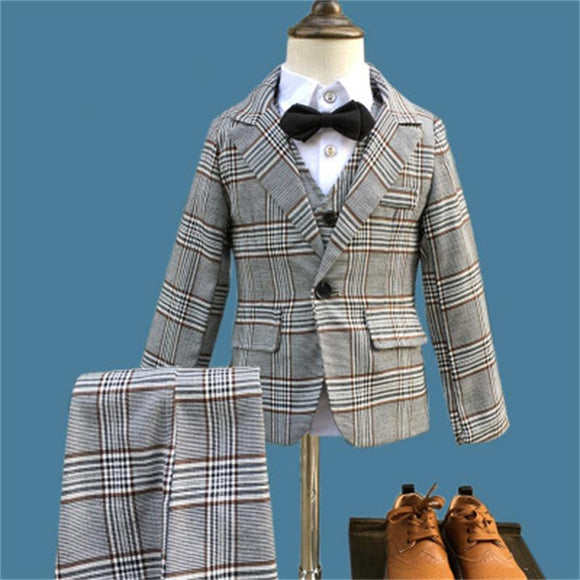 Boys Formal 3 pcs/set Plaid Wedding Suits - little-darling-fashion-online