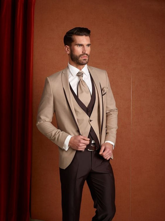 Terno Brown Khaki Slim Fit 3 Pce Men's Wedding Suits - little-darling-fashion-online