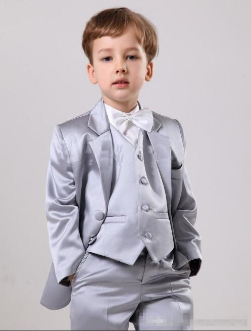 Elegant Silver Satin Boys Wedding Ring Bearer Suits - little-darling-fashion-online