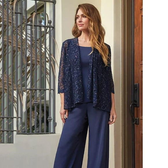 Beautiful Three Piece Mother of the Bride Pant Suit - little-darling-fashion-online