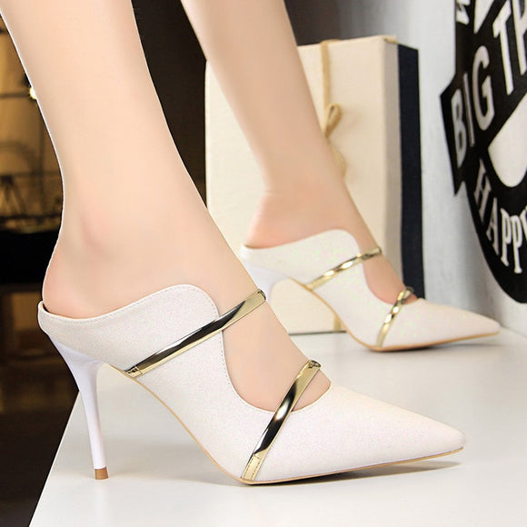 Fashion White Gold Women Platform High 9cm Heels Shoes by PickAProduct
