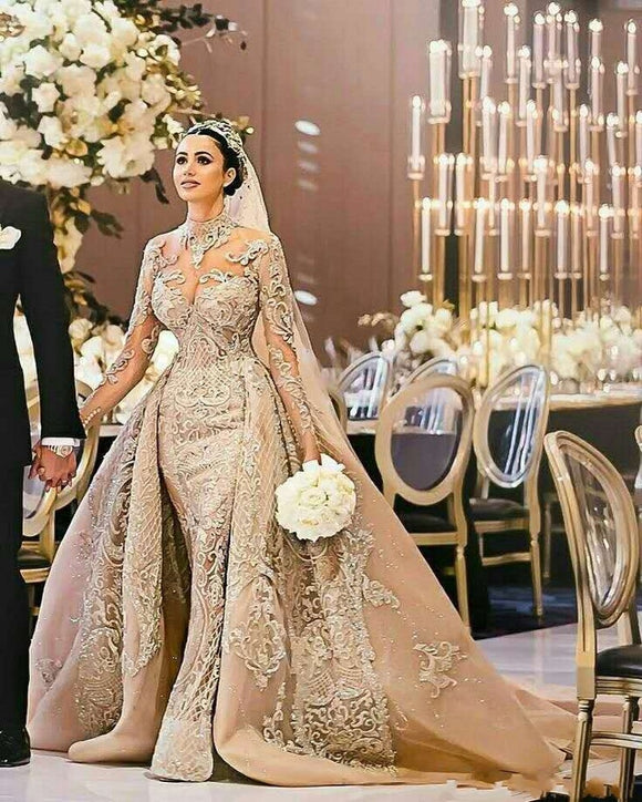 Luxury Vintage Arab Muslim Lace Wedding Dress 2019 - little-darling-fashion-online