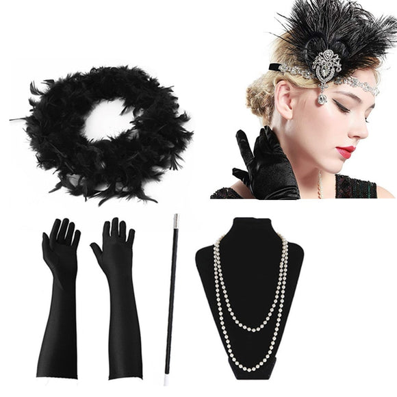 Women's Feather Great Gatsby Vintage 5 Piece Headwear by PickAProduct