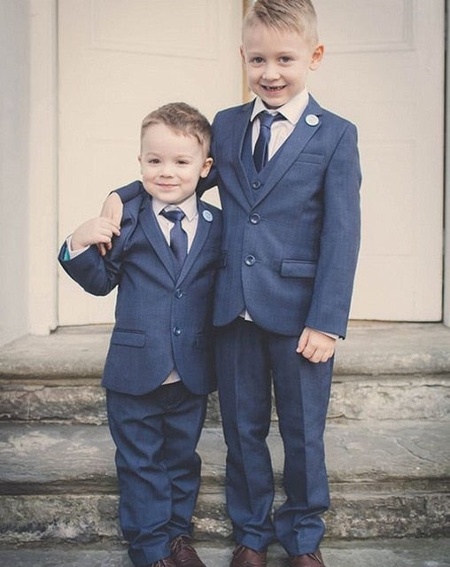 Boys Blue Wedding Suits (Jacket+Vest+Pants+Tie) - little-darling-fashion-online