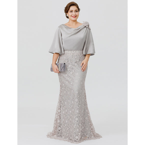 Mermaid Silver Grey Mother of the Bride Groom Dress - little-darling-fashion-online