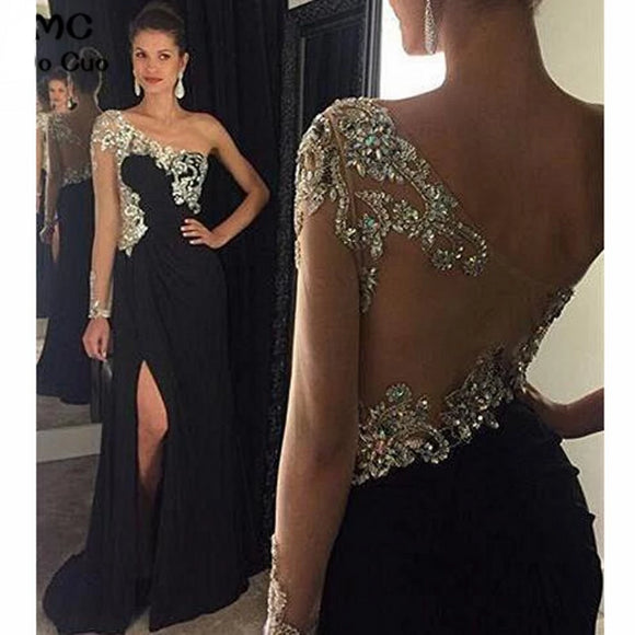 One Shoulder Chiffon Beaded Black Evening Dresses - little-darling-fashion-online