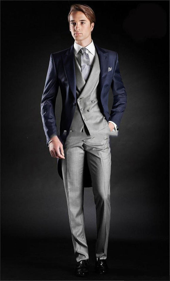 Morning Style One Button Navy Blue Groom Tuxedos - little-darling-fashion-online