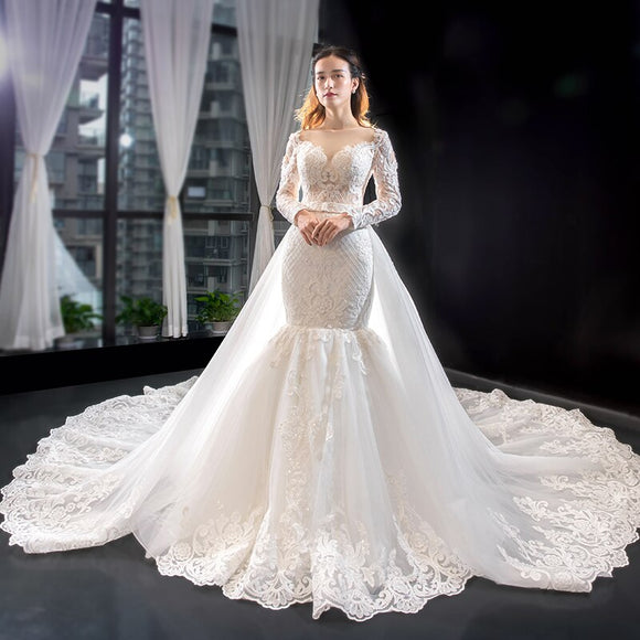 Mermaid Crystal Luxury Wedding Dress with Overskirt