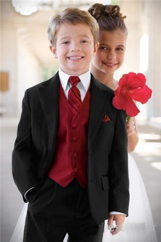 Boy's Formal Occasion/Wedding Black and Red Suit - little-darling-fashion-online