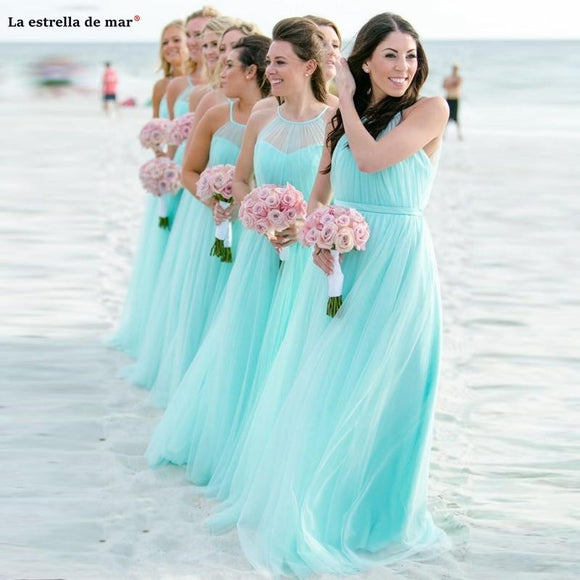 Robe Demoiselle d'Honneur A Line Turquoise - little-darling-fashion-online