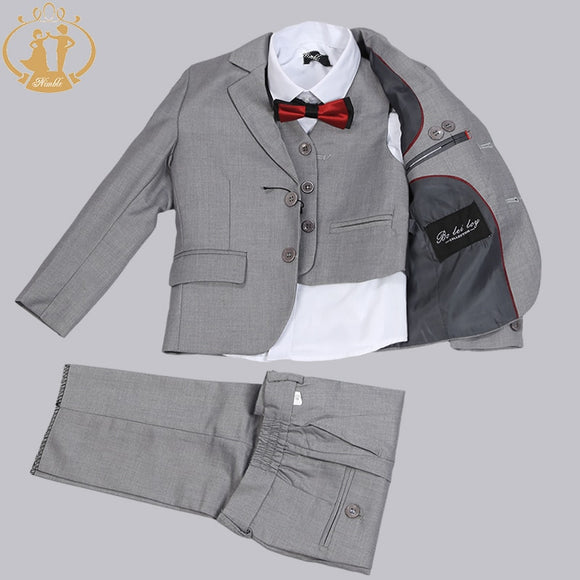 Boys Single Breasted 3 Pieces Grey Wedding Suit Set - little-darling-fashion-online