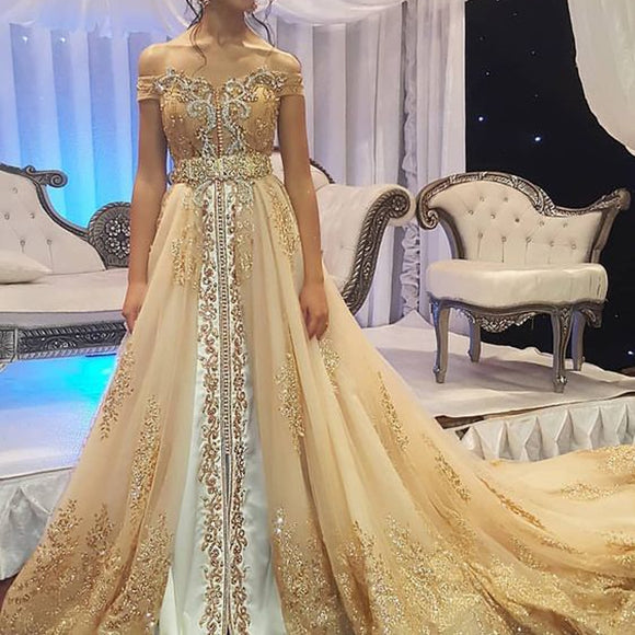 Lace Appliques Beaded Champagne Prom Dresses - little-darling-fashion-online