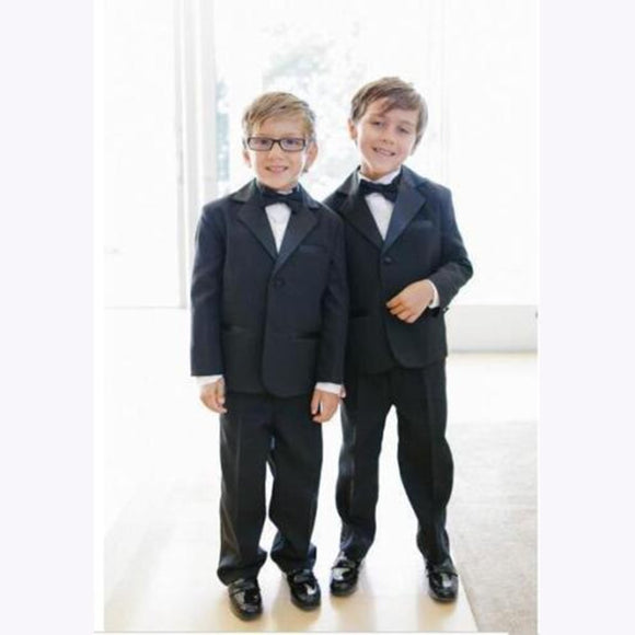 Black Notch Lapel Two Buttons Boys Wedding Suit - little-darling-fashion-online