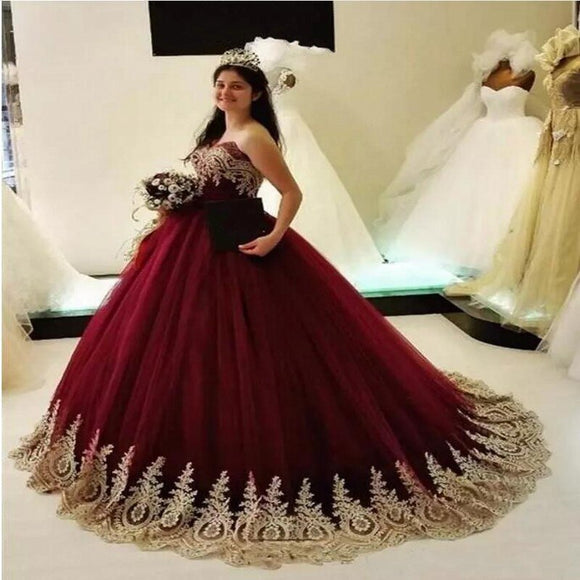 Vintage Lace Applique Tulle Wine Red Quinceanera Dress by PickAProduct