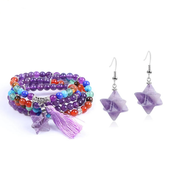 Natural Stone Merkabah Purple Earrings and Bracelet - little-darling-fashion-online