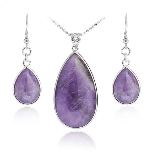 Women's Boho Water Drop Natural Gem Jewelry Sets - little-darling-fashion-online