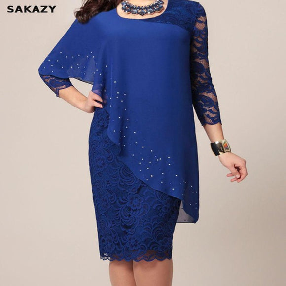 Blue Large Size Lace 3/4 Sleeves Chiffon Day Dresses - little-darling-fashion-online