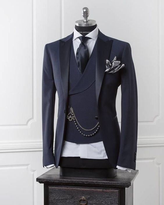 Navy Blue Men Blazer Business Modern Men Suit - little-darling-fashion-online