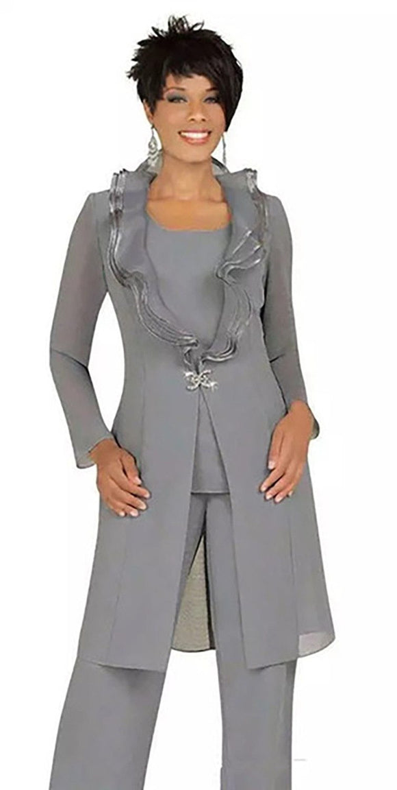2019 Gray Chiffon Mother of the Bride Pant Suits - little-darling-fashion-online